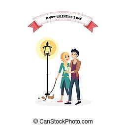 couple, chien, valentin, promenade, jour, heureux