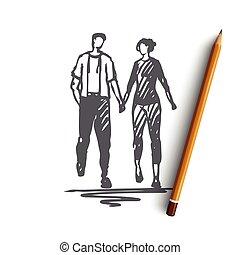 couple, concept., amour, isolé, vector., date, romance, main, dessiné, marche