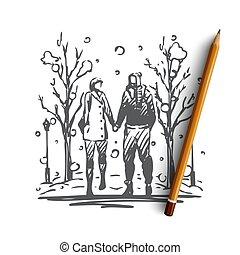 couple, concept., isolé, vector., amour, hiver, main, parc, dessiné, marche