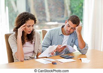 couple, conjugal, leur, calculer, jeune, factures