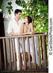 couple, délassant, dehors
