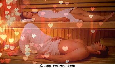 couple, délassant, sauna