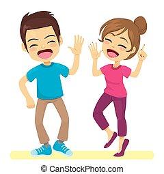 couple, danseurs, rue