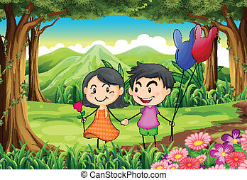 couple, dater, jungle