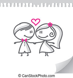 couple, dessin animé, mariage