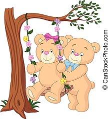 couple, dessin animé, ours