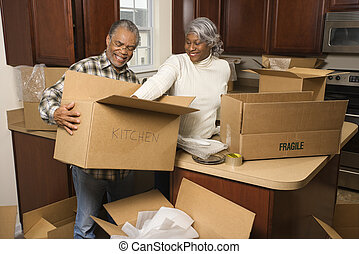 couple, emballage, boxes.