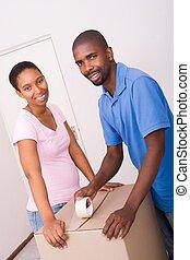 couple, en mouvement, africaine
