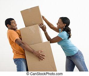 couple, en mouvement, boxes.