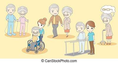 couple, exercice, malade, vieux