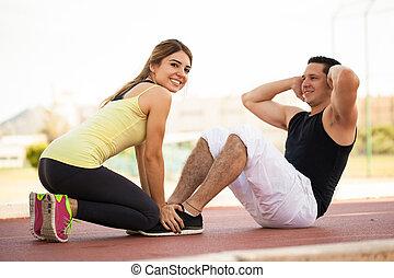 couple, exercisme, ensemble, dehors