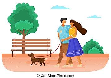 couple, famille, relation, chien, rue., chouchou, spends, marche, dehors, temps