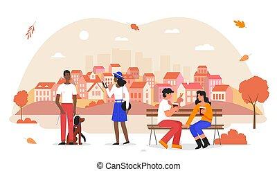 couple, femme, blanc, homme, dessin animé, illustration, automne, plat, chien, ville, séance, marche, isolé, parc, heureux, automnal, caractère, vecteur, chouchou, banc, gens