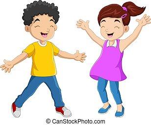 couple, gosse, heureux, rigolote, dessin animé