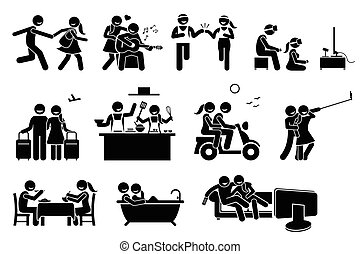 couple, heureux, activities., amant