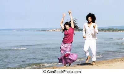couple, heureux, amour, mer, danse