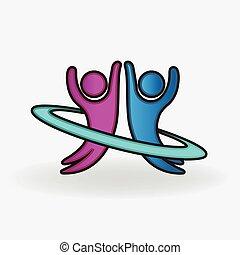 couple, heureux, gens, logo, danse