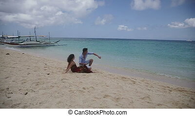 couple heureux, plage., exotique