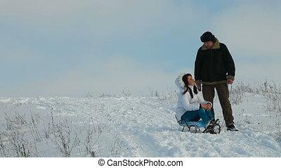 couple, hiver, apprécier