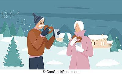 couple, hiver, jouir de, vacances assaisonner, gens âgés, noël