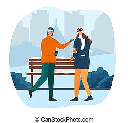 couple, hiver, marche, chaud, parc, mignon, café buvant
