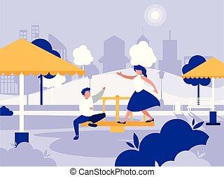 couple, icône, parc, isolé, cour de récréation