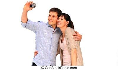 couple, image, themself, mignon, prendre