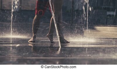 couple, jambes, fontaine, jeune, danse