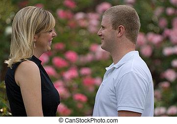 couple, jardin