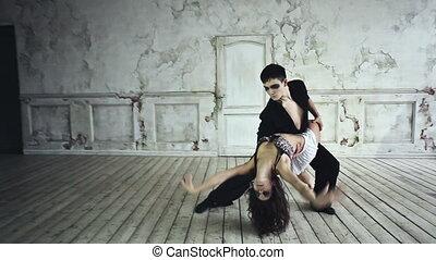 couple, jeune, danse