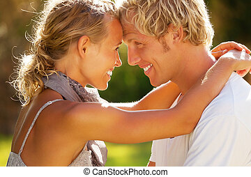couple, jeune, heureux