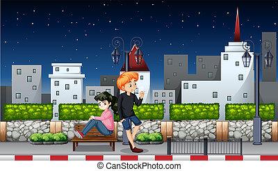 couple, jeune, nuit