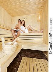 couple, jeune, sauna