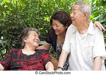 couple, leur, heureux, vieux, famille, enfants, :