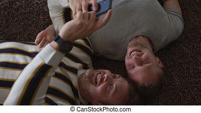 couple, leur, mâle, maison, caucasien, sofa, distancing, social