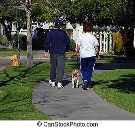 couple, leur, marche