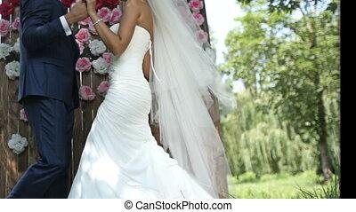 couple, love., jeune, sensuelles, tenue, mariage, hands.