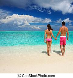 couple, maldives, plage