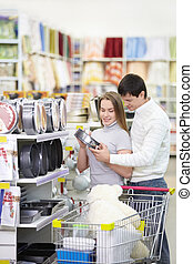 couple, mariés, magasin