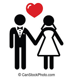 couple, mariés, mariage, icône
