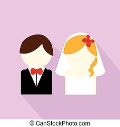 couple, mariage, icône