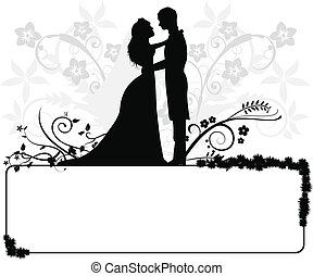couple, mariage, silhouettes