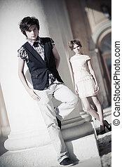 couple, mode, jeune