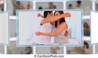 couple, montage, moments, apprécier, grossesse, ensemble