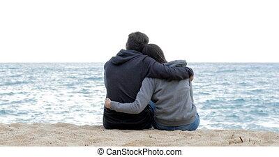 couple, océan, plage, adolescents, regarder