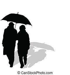 couple, parapluie, marche