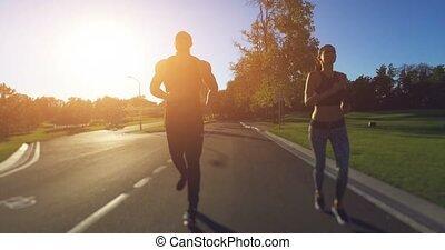 couple, parc, jogging