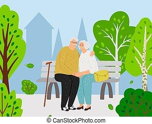 couple, parc, personnes agées, ville