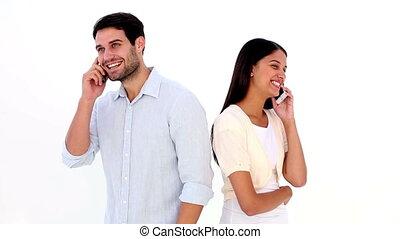 couple parler, séduisant, jeune
