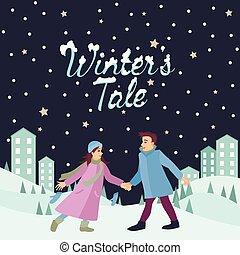 couple, paysage neige, ville, hiver, inscription, amants, marche, nature, conte